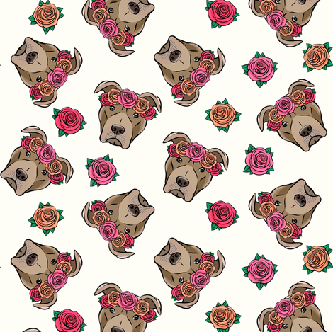 pit bulls - floral crowns - cream fabric by littlearrowdesign on Spoonflower - custom fabric