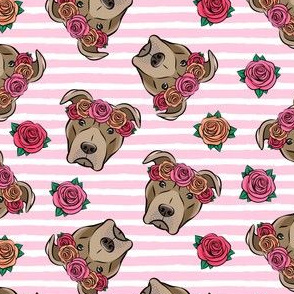 pit bulls - floral crowns - pink stripes