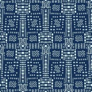 Indigo Blue Japanese Style Stitch Lines Hand Drawn