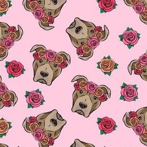 pit bulls - floral crowns - pink