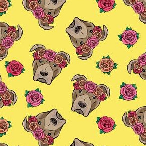 pit bulls - floral crowns - yellow