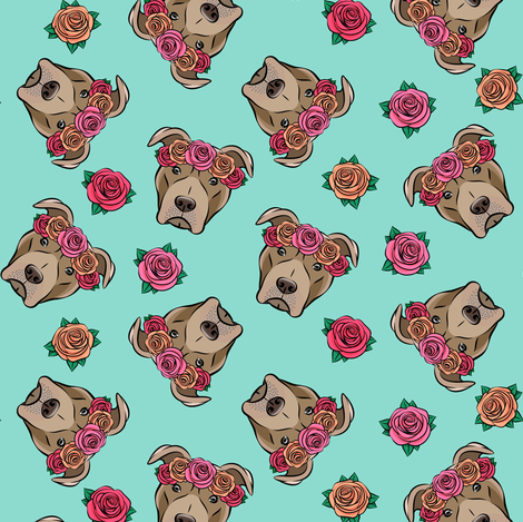 pit bulls - floral crowns - teal fabric by littlearrowdesign on Spoonflower - custom fabric