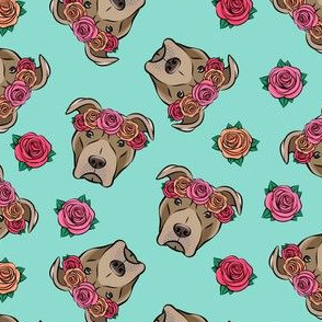 pit bulls - floral crowns - teal