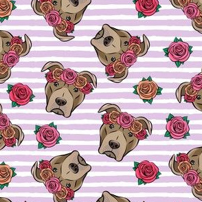 pit bulls - floral crowns -  purple stripes