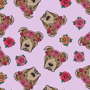 pit bulls - floral crowns - purple
