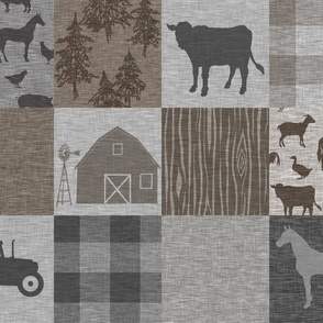 Farm Quilt - Rustic Soft Brown And Grey