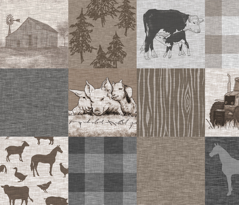 Old Farm Quilt 12sq - Rustic Soft Brown And Grey fabric by sugarpinedesign on Spoonflower - custom fabric