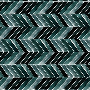 chevron painted deep blue green S - rotate