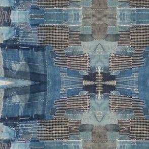 Antique stitched indigo mirrored design
