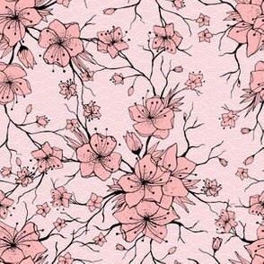 Japanese Sakura Branch and Blossoming Flowers. Classic Seamless Pattern