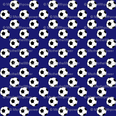 Half Inch Black and White Soccer Balls on Midnight Blue