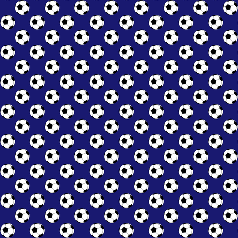 Half Inch Black and White Soccer Balls on Midnight Blue fabric by mtothefifthpower on Spoonflower - custom fabric