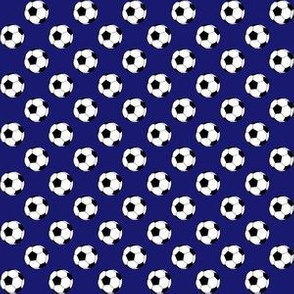 Half Inch Black and White Soccer Balls on Midnight Blue