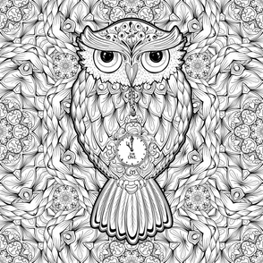 Stylized Owls Vector Pattern