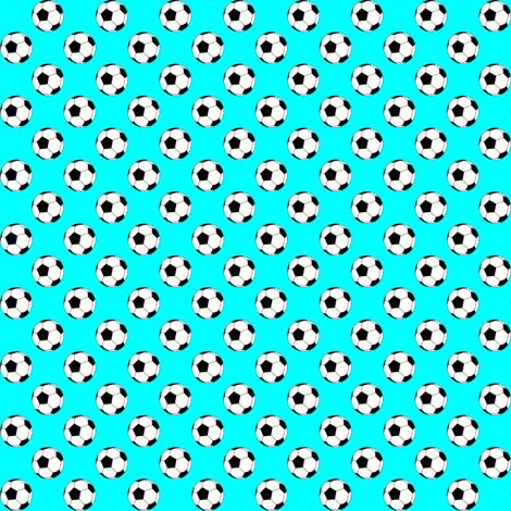 Half Inch Black and White Soccer Balls on Aqua Blue fabric by mtothefifthpower on Spoonflower - custom fabric