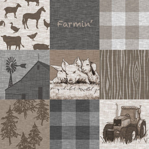 Farmin - 9sq Rustic Soft Brown And grey - farm animal quilt
