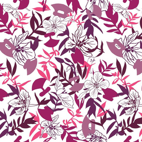 Tundraberry Fireweed and Ulu in Berry White - Large