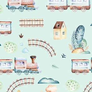 Watercolor baby boy world: cartoon airplane and wagon locomotive  illustration
