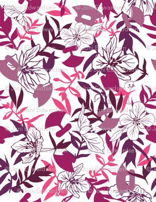 Tundraberry Fireweed and Ulu in Berry White - Medium