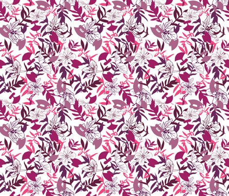Tundraberry Fireweed and Ulu in Berry White - Medium fabric by tundraberry on Spoonflower - custom fabric
