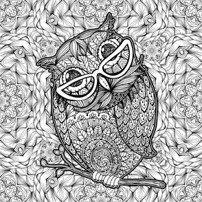 Smart Outline Owl in glasses