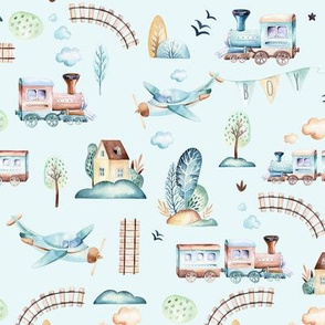 Watercolor baby boy world: cartoon airplane and wagon locomotive  illustration