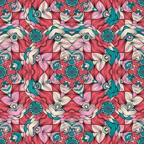 Hand-drawn Doodles Style Kaleidoscope Vector Seamless Pattern