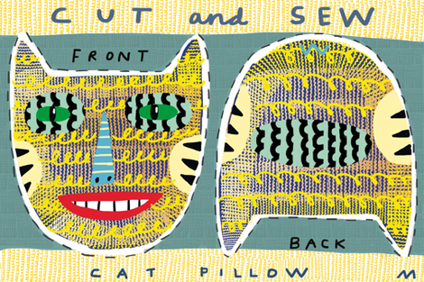"12"" tigercat pillow fabric by kimmurton on Spoonflower - custom fabric"