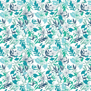 Tundraberry Fireweed and Ulu in Turquoise White - Medium