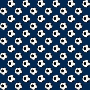 Half Inch Black and White Soccer Balls on Navy Blue