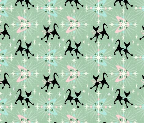 Retro Cats, Boomerangs, & Starbursts fabric by studioxtine on Spoonflower - custom fabric