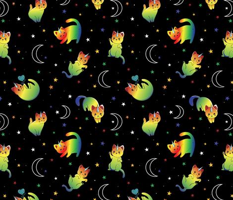 Galactic Cats fabric by natalee_wegmann on Spoonflower - custom fabric