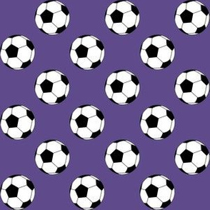 One Inch Black and White Soccer Balls on Ultra Violet Purple