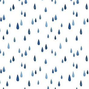 blue raindrops falling down