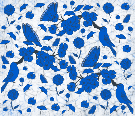 Butterflie chinoiserie. fabric by maria81 on Spoonflower - custom fabric