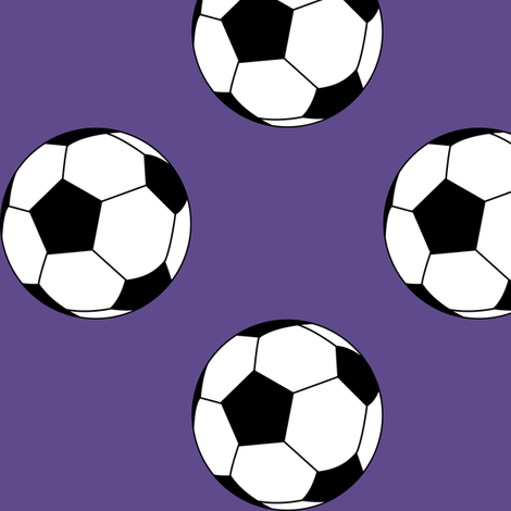 Three Inch Black and White Soccer Balls on Ultra Violet Purple fabric by mtothefifthpower on Spoonflower - custom fabric
