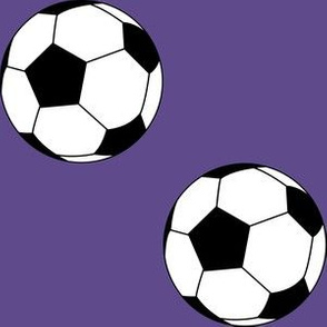 Three Inch Black and White Soccer Balls on Ultra Violet Purple