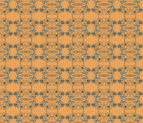 Floral bouquet squared-rust fabric by unclemamma on Spoonflower - custom fabric