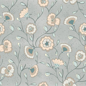 Chinoisserie floral dove grey