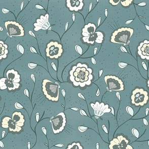 Chinoisserie floral teal