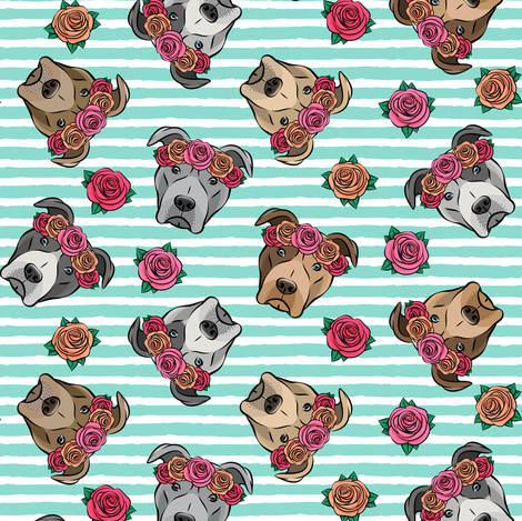 all the pit bulls - floral crowns -  teal stripes fabric by littlearrowdesign on Spoonflower - custom fabric