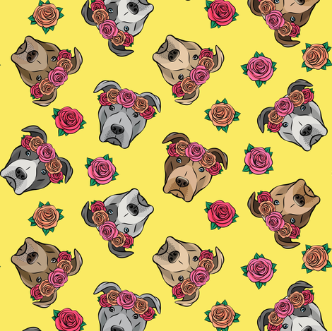 all the pit bulls - floral crowns -  yellow fabric by littlearrowdesign on Spoonflower - custom fabric