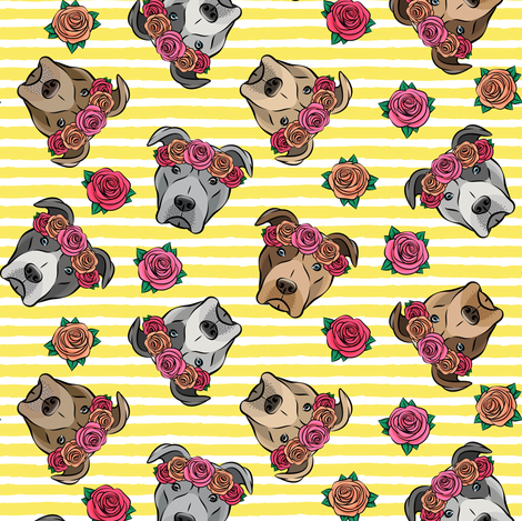 all the pit bulls - floral crowns -  yellow stripes fabric by littlearrowdesign on Spoonflower - custom fabric