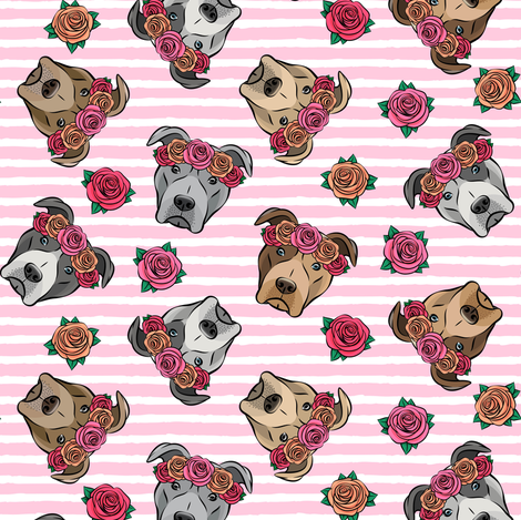 all the pit bulls - floral crowns -  pink stripes fabric by littlearrowdesign on Spoonflower - custom fabric