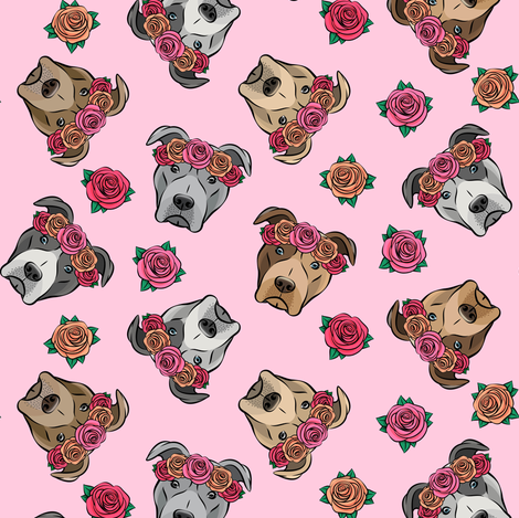all the pit bulls - floral crowns -  pink fabric by littlearrowdesign on Spoonflower - custom fabric