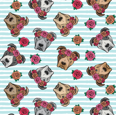 all the pit bulls - floral crowns -   blue stripes fabric by littlearrowdesign on Spoonflower - custom fabric