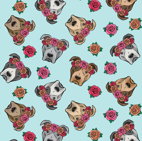 all the pit bulls - floral crowns -  blue fabric by littlearrowdesign on Spoonflower - custom fabric