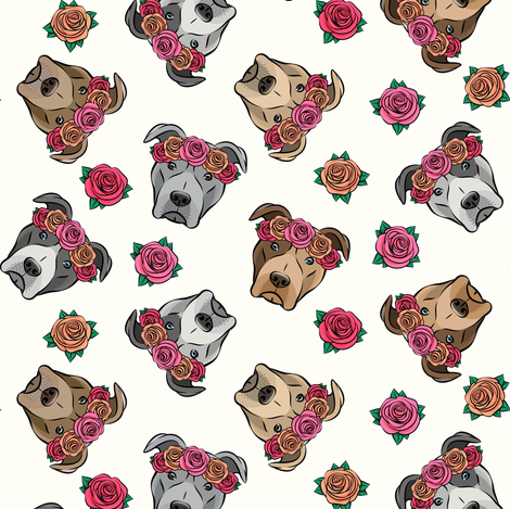 all the pit bulls - floral crowns -  cream fabric by littlearrowdesign on Spoonflower - custom fabric