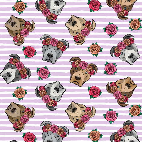 all the pit bulls - floral crowns -  purple stripes fabric by littlearrowdesign on Spoonflower - custom fabric
