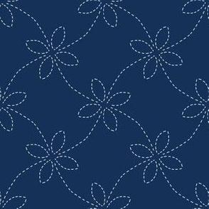 Traditional Indigo Blue Japanese Needlework